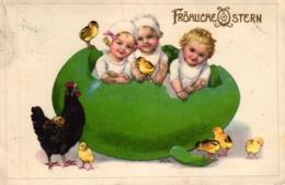 Ostern, Kinder, Küken, Großes Ei, 20er Jahre - Pâques
