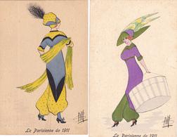 771/ 2 Getekende Kaarten, Dame, La Parisienne De 1911, CH - Illustratoren & Fotografen