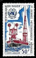 NIGER Aer71° 50f Bleu, Carmin Et Sépia 7ème Journée Météorologique Mondiale (10% De La Cote + 0,15) - Niger (1960-...)