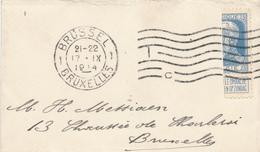 877/28 - PREMIERS MOIS DE GUERRE - Petite Enveloppe TP Grosse Barbe Coupé En Deux - BRUXELLES 17 IX 1914 - WW I