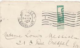 878/28 - PREMIERS MOIS DE GUERRE - Petite Enveloppe TP Pellens Coupé En Deux - BRUXELLES 24 IX 1914 - WW I