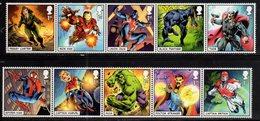 UK, 2019, MNH, MARVEL COMIC HEROES, SPIDER MAN, HULK, BLACK PANTHER, THOR, IRON MAN, DOCTOR STRANGE, CAPTAIN MARVEL, 10v - Bandes Dessinées