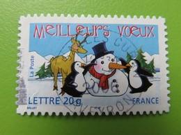 Timbre France YT 3854 (AA N° 68) - Meilleurs Voeux - Manchots, Renne Et Bonhomme De Neige - 2005 - Cachet Rond - Sellos Autoadhesivos