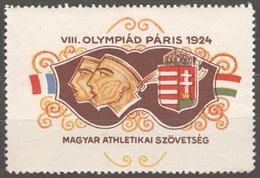 Paris 1924 Olympics Olympic GAMES / France Hungary Athletics MNH - LABEL CINDERELLA VIGNETTE FLAG / Coat Of Arms - Summer 1924: Paris