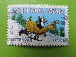 Timbre France YT 3855 (AA N° 69) - Meilleurs Voeux - Renne Et Manchot Sur Une Luge - 2005 - Cachet Rond - Sellos Autoadhesivos