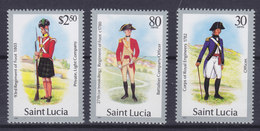 St. Lucia 1985-87 Mi. 760 II, 888 I, 751 II     2.50 $, 80c., 30c., Militäruniformen (Jahreszahl 1986) MNH** - St.Lucia (1979-...)