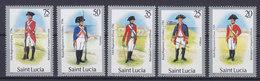St. Lucia 1985 Mi. 757 I, 755 I,753 I, 751 I, 750 I  75c., 50c., 35c., 25c., 20c. Militäruniformen Jahreszahl 1984 MNH** - St.Lucia (1979-...)