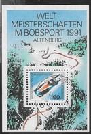 GERMANY - CAMPIONATI MONDIALI BOB - ALTENBERG 1991 -  FOGLIETTO USATO -  (YVERT BF22 -  MICHEL BL23) - Inverno