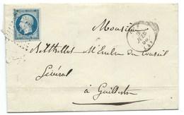 ENVELOPPE / N° 14 NAPOLEON GAP POUR GUILLESTRE  / 5 JUIN 1856 - 1849-1876: Période Classique