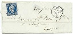 ENVELOPPE / N° 14 NAPOLEON ISSOUDUN POUR LIMOGES  / 8 JUIN 1856 - 1849-1876: Klassieke Periode