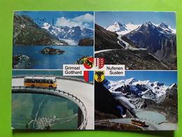 Bus Autocar Jaune, GRIMSEL GOTTHARD NUFENEN SUSTEN, Suisse TB - Buses & Coaches