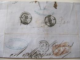 MARQUE POSTALE  LETTRE  TAURIS  (PERSE)  Vers LYON  1861 - Marcophilie (Lettres)