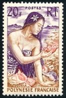 POLYNESIE 1958 - Yv. 11 *   Cote= 9,00 EUR - Jeune Fille Au Coquillage  ..Réf.POL23755 - Ungebraucht