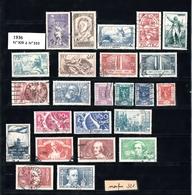 Année 1936   - Timbres Oblitérés - France