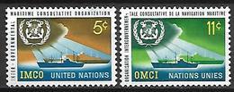 NATIONS - UNIES    -    1964 .   Y&T N° 119 / 120 **.   Organisation De La Navigation Maritime  /  Bateaux - New-York - Siège De L'ONU