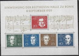 GERMANY - INAUGURAZIONE BEETHOVEN-HALLE A BERLINO 1959 -  FOGLIETTO NUOVO** -  (YVERT BF 1 -  MICHEL BL 2) - Musica