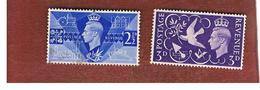 GRAN BRETAGNA (UNITED KINGDOM) -  SG 483   - 1946  VICTORY  COMMEMORATION (COMPLET SET OF 2)   - USED° - Usati