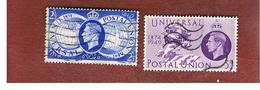 GRAN BRETAGNA (UNITED KINGDOM) -  SG 499.500   - 1949  75^ ANNIVERSARY OF U.P.U.   - USED° - Usati
