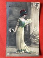 1911 - VIVE MARIE - MARIA - MIA - DAME MET RODE HOED EN WAAIER - FEMME CHAPEAU ROUGE ET EVENTAILLE - Prénoms