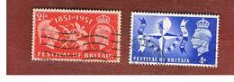 GRAN BRETAGNA (UNITED KINGDOM) -  SG 513.514   - 1951  BRITAIN FESTIVAL (COMPLET SET OF 2)   - USED° - Usati