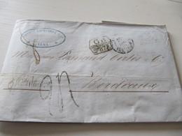 MARQUE POSTALE  LETTRE  LIMA   Vers  BORDEAUX   1859 - Marcophilie (Lettres)