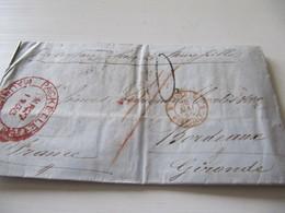 MARQUE POSTALE  LETTRE  PORT LOUIS  MAURICE    Vers  BORDEAUX   1855 - Marcophilie (Lettres)