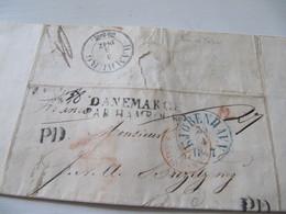 MARQUE POSTALE  LETTRE  COPENHAGUE   Vers  BORDEAUX   1847 - Marcophilie (Lettres)