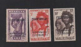 FAUX Par Avion Bâtiment De Ligne Richelieu 3 Timbres Du Sénegal Mauritanie Gomme Lot 11 - Poste Aérienne