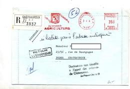 Lettre Recommandee Chateauroux Flamme Ema Service Agriculture + Retour  + Destinataire Non Identifié - Marcophilie (Lettres)