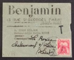V88 Taxe 85 Sur Réexpédition «Dispensé Du Timbrage» Fragment Bande De Journal Benjamin Hebdomadaire Pour La Jeunesse - 1921-1960: Modern Period