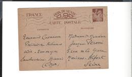 ENTIER IRIS CORSE AJACCIO 28.11.1940 WW2 - Entiers Postaux