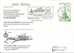 Entier Cp Tour Eiffel 1983 Massy - Enteros Postales