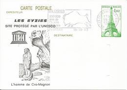 Entier Cp Tour Eiffel 1983 Les Eyzies - Ganzsachen
