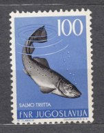 Yugoslavia Republic 1954 Animals Fish Mi#749 Mint Hinged, Key Stamp - Ungebraucht