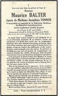 Arlon Maurice Balter Paris 1888 Arlon 1937 époux De Joséphine Tonnon - Aarlen