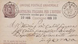 INTERO POSTALE PER L' ESTERO CENT. 10 SU 15 CENT. - REGNO - VIAGGIATA DA LAGOSANTO ( FERRARA)  PER FERRARA - 1878-00 Humbert I