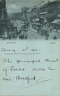 Leeds Short Size Briggate Tram  Bleu à La Lune  P. Used 1901 From Bradford - Leeds