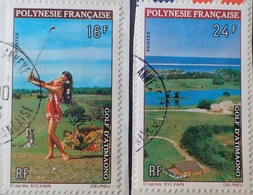 DF50500/686 - 1974 - POLYNESIE FR. - N°94 à 95 ☉ Sur Fragment - Cote : 9,30 € - Polynésie Française