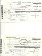 FERRERO  ALBA    N. 2  PEZZI    CASSA  DI  RISPARMIO DI  CUNEO   BANCA  POPOLARE  NOVARA---1970 - Assegni & Assegni Di Viaggio