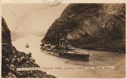 """U.S.S. """" Arkansas"""" , Pacfic Fleet  , Passing Culebra Cut , Panama Canal  - Scan Recto- Verso - Panama"""