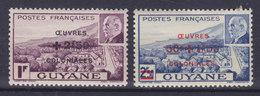 French Guyana 1944 Mi. 199-200 Kolonialhilfswerk M. Aufdruck Overprinted Complete Set MH* - Ungebraucht