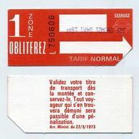 Ticket De Bus SEMVAT Toulouse Zone 1 (Société D'économie Mixte De L'agglomération Toulousaine) Vintage ! Collector ! - Bus