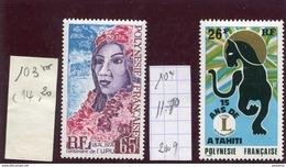 POLYNESIE FRANCAISE-N° 103+104 UPU+LIONS INTER  -Neufs Sans Char -TTB Cote 25.90euros - Neufs