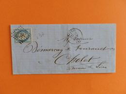 CERES DENTELE 60 SUR LETTRE DE NANTES A CHOLET DU 18 AOUT 1871 (GROS CHIFFRE 2602) - Postmark Collection (Covers)