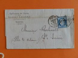 CERES DENTELE 60 SUR LETTRE DE NANTES A ST SERVANT DU 26 MAI 1875 (GROS CHIFFRE 2602) - Postmark Collection (Covers)
