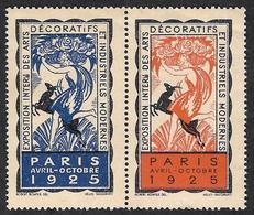 VIGNETTE - Vignettes  -  Exposition Internationale  Des Arts Décoratifs - 2 Vignettes Rouge Et Bleue  Se Tenant - Erinofilia