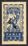 VIGNETTE - Vignette  -  Exposition Internationale  Des Arts Décoratifs  -  Gomme Intacte - Commemorative Labels