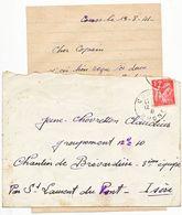 RHONE LAC 1941 COURS (TIMBRE DFT) ADRESSEE AU CHANTIER DE LA JEUNESSE N°10 BREVARDIERE PAR ST LAURENT DU PONT ISERE - Marcophilie (Lettres)