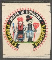 Puppet Puppets - Folk Motifs - CINDERELLA LABEL VIGNETTE - MNH - Hungary 1960's - Marionnettes