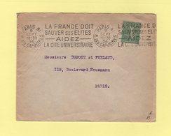 Type Semeuse - 50c Seul Sur Lettre - Paris 9 Septembre 1926 - 1877-1920: Période Semi Moderne